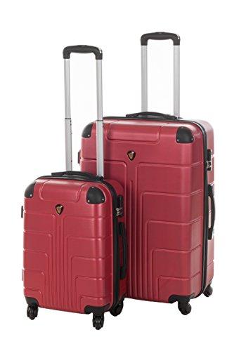 Set di valigie con scocca rigida New York, 2pezzi, misuraM + L, 56 + 65, 42 + 68 litri, 7 colori assortiti Rosso bordeaux M+L