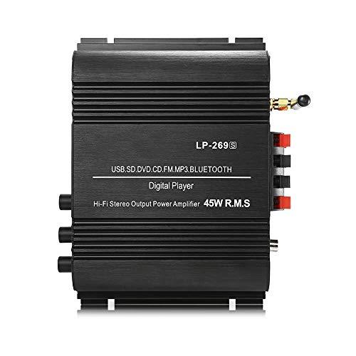L-MEIQUN,LP-269S Bluetooth-Leistungsverstärker 2-Kanal-HiFi-Stereo-Audio-Unterstützung SD USB FM(Color:SCHWARZ,Size:US Plug) -