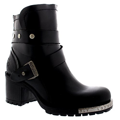Fly London LOK Damen Biker Boots BLACK (BLACK SOLE)