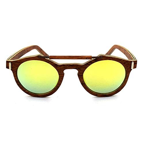 Honneury Frauen Männer runde Vintage Holz polarisierte Sonnenbrille (Farbe : Golden)