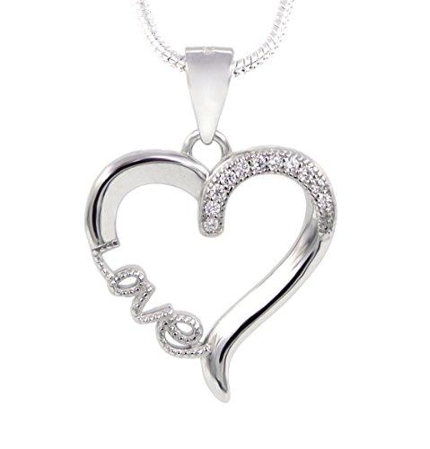 Collier Herz Love 925 Sterling Silber 11 Zirkonia 45cm lang Silberkette Halskette Kette Damen