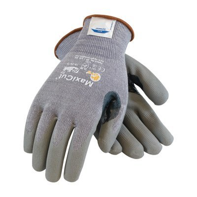Protective Industrial Products 2X MaxiCut 5 By ATG Medium Weight Cut Resistant Gray Micro-Foam Nitrile Palm And Fingertip Coated Work Gloves With Gray Seamless Dyneema, Lycra And Glass Liner , Continuous Knit Cuff And Reinforced Thumb Crotch by Protective Industrial Products