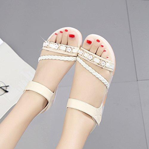 XY&GKFrau Sommer Flache untere Wohnung Heel Sandalen rutschfeste Mutterschaft's Schuhe Frauen Schuhe 35 meters white
