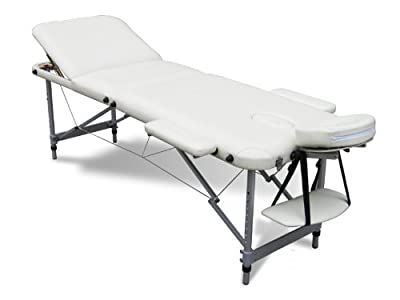 FoxHunter Deluxe Portable Lightweight Massage Table Beauty Couch Therapy Bed Folded 3 Section Aluminium Frame Beige with Headrest Armsupport Free Cover and Carrying Bag - inexpensive UK light shop.