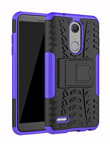 LG K30 Fall, LG K10 2018 Fall, LG Premier Pro 4 G LTE Case Schutzhülle, Moment dextrad [Standfuß] [Rutschfeste Design] Dual Layer Hybrid Ganzkörper-Rugged [stoßfest] Case Cover + Stylus, Violett T-mobile Wireless-handy