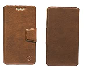 J Cover Kanger Series Leather Pouch Flip Case With Silicon Holder For Wickedleak Wammy Note 3 Light Brown