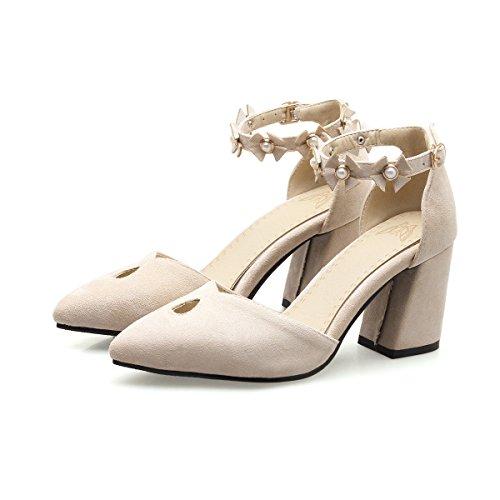 CXQ-Heels QIN&X Block der Frauen Schuhe Flache Mund Schuhe, Reis Weiß, 45 (Fuß-scrub Block)