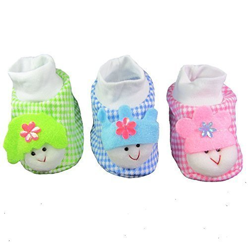 EIO NEWBORN INFANT BABY GIRL/BOY SOCKS/ COTTON BOOTIES (PACK OF 3 PAIRS)