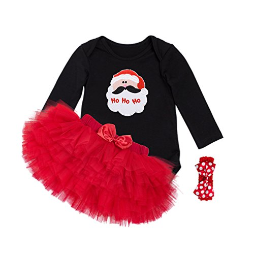 Anguang Baby Mädchen Bekleidung Set Weihnachtsmann Kostüm Langarm Bodysuit mit Tütü Kleid Stirnband für Weihnachtsgeschenk Stil 1 M