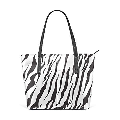 Mode Handtaschen Einkaufstasche Top Griff Umhängetaschen Animal Skin Tiger Stripes Black Large Printed Shoulder Bags Handbag Top Handle Satchel Purse Lightweight Work Tote Bag For Women Girls