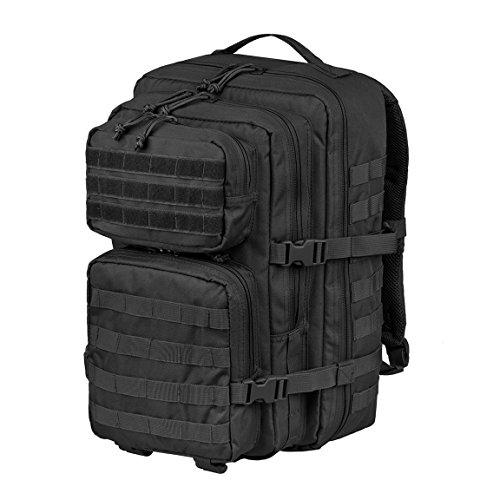 Trekkingrucksack Wanderrucksack Jagdrucksack Survival Rucksack Assault Pack groß mit Klettpatches und Brustgurt Blacksnake® - Large - Schwarz