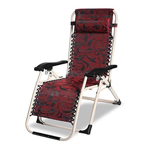 Liegestuhl Campingstuhl Relaxliege(Belastung:150kg) Verstellbare Lehne Stärkung der Vierkantrohr Stahl atmungsaktiv Textilene Gewebe für Gartengarten Im Freien,Red