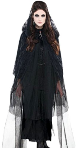 Halloweenia - Damen Kostüm die schwarze Frau mit Kapuzenumhang , onesize, Schwarz (Scary Frau In Teufel Kostüm)