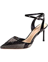 KOKQSX-Moda Rear Air Sandalias de Verano Lentejuelas Cabeza Alargada Fina Tacones  Zapatos de Tacon Alto 9cm Banquete. Treinta y… 39016ac87148