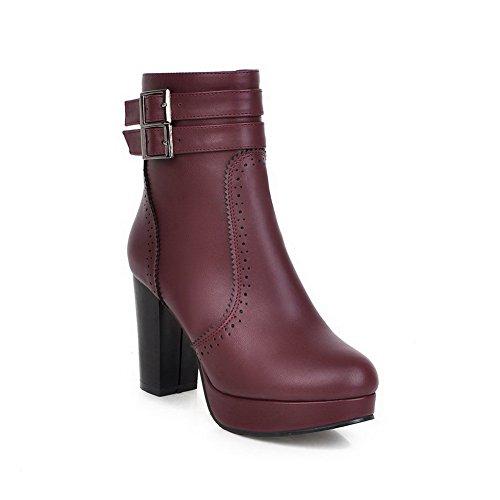 VogueZone009 Damen Stiletto Reißverschluss Niedrig-Spitze Blend-Materialien Stiefel, Schwarz, 41
