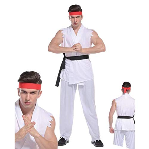 Rubber Johnnies TM Erwachsene Herren Straßenkämpfer Kostüm Karate Kinder Ryu Kämpfer Kostüm Ninja Lee (Schwarze Kind Kämpfer, Ninja Kostüm)