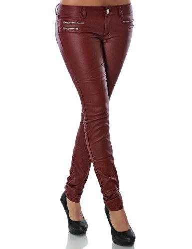 Damen Hose Kunstlederhose Skinny Röhre (Weitere Farben) No 14258, Farbe:Bordeaux, Größe:M / 38