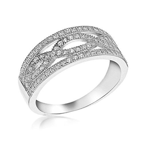Tuscany Silver Ring Rhodiniert Sterling Silber Elliptisch Weiß Zirkonia - Größe L International Silver Swirl