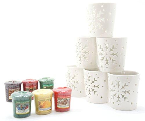 Yankee Candle, Votivkerzenhalter mit weihnachtlichen Duftkerzen, 6 Stück