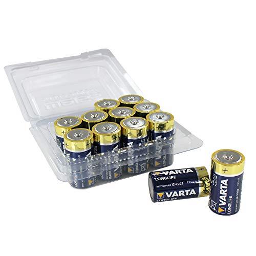 Varta Longlife Batterie C Baby Alkaline Batterien LR14-12er Pack in wiederverschließbarer original Weiss - More Power + Batteriebox