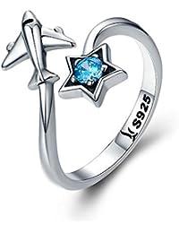 1d0d026706eb Bijoux Blu Star and Plane - Anillo de Plata de Ley 925 para Mujer