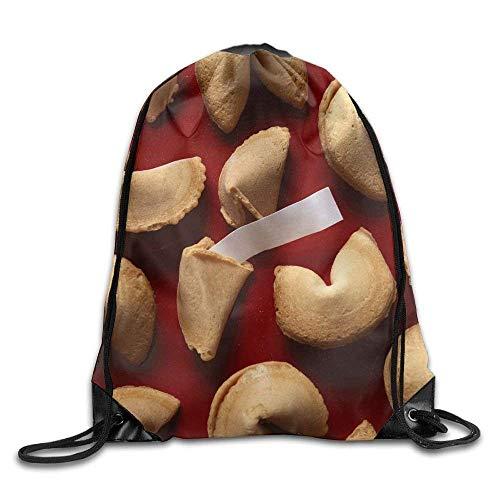 Setyserytu Sporttasche mit Kordelzug, Sportrucksack, Reiserucksack, Fortune Cookies On Red Background with White Blank Paper Bags Running Backpack (Paper Fortune Cookies)