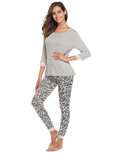 ADOME Damen Schlafanzug lang Blumen Loose Fit Herbst Winter Pyjama set Jersey Nachtwäsche warm sleepwear leicht Atmungsaktiv Grau