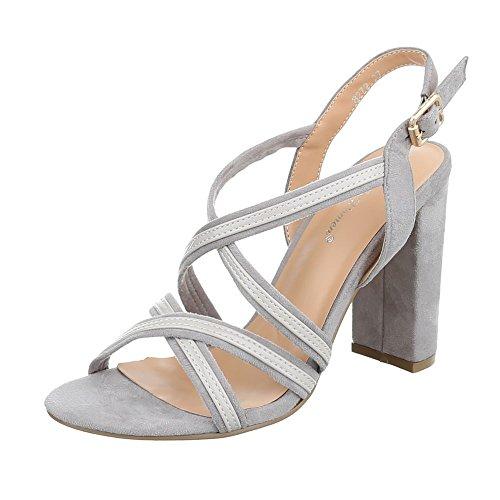 Ital-design Sandali Con Tacco Alto Scarpe Da Donna Pumps Sandali Con Tacco Fibbia Grigio Chiaro