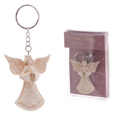 BEAUTIFUL WHITE GUARDIAN ANGEL FIGURINE KEYRING IDEAL GIFT