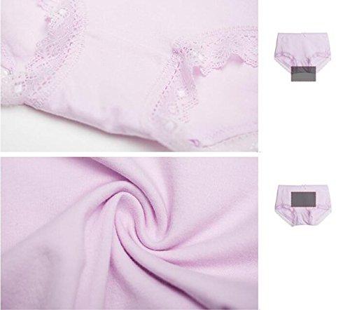 [2 Stück] Frau Ultra-bequeme Unterwäsche Elastischer Baumwolle Weiche Spitze-Spitze-niedrige Taillen-Slip Purple
