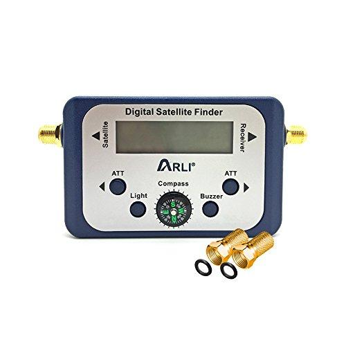 Satfinder Digital Satelliten mit LCD Display F-Stecker Signalton zum Ausrichten von Satelliten-Antennen Anschlusskabel zwischen LNB Receiver Sat Finder Signal vergoldet HD Camping Wohnwagen Boot ARLI