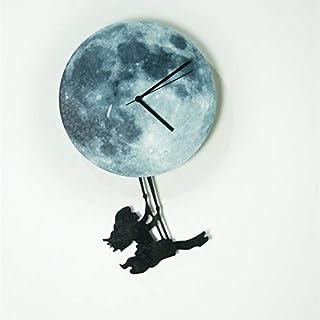 AKJC Orologio Da Pareteglow In The Dark Moon Wall Clock Exclusive New Moonlight Night Light Deco Sticker Girl Swing On The Moon