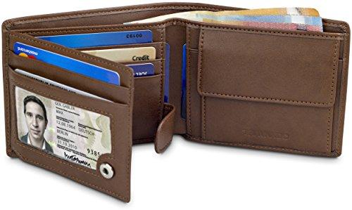 TRAVANDO Geldbeutel Herren Munich - Klassische Geldbörse im Querformat - 8 Kartenfächer - RFID Schutz Männer - mit Geschenk Box - Designed in Germany (Braun)