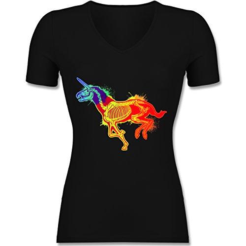 Shirtracer Einhörner - Einhorn Skelett - Tailliertes T-Shirt mit V-Ausschnitt für Frauen Schwarz