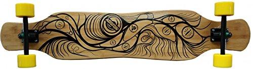 Koston Bambus Longboard Komplettboard Dancer Cruiser Gan Jiang 46.0 x 9.0 inch Yellow Wheels - Profi Longboard Carver - Carving Dance Longboard (Longboard Carver)