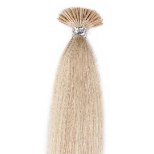 Beauty7 Extension de Cheveux 100 meche Pose a Froid Cheveux Humain Naturel Raides Couleur Blond Platine #60 - Poids 50g - Longueur 50cm