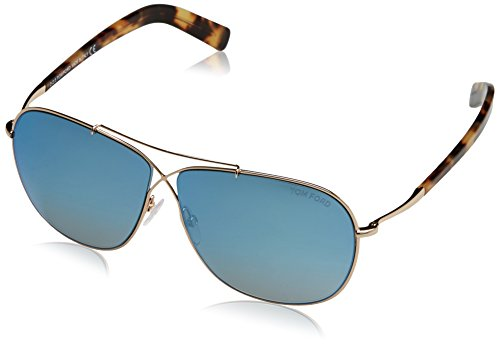 Tom Ford Herren FT0393 6128X Sonnenbrille, Gold, 61