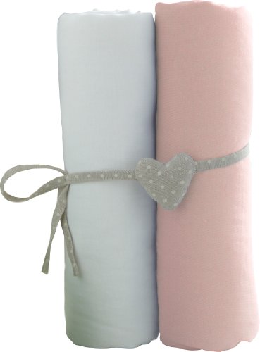 Babycalin lot de 2 Draps Housse Blanc/Rose 60 x 120 cm