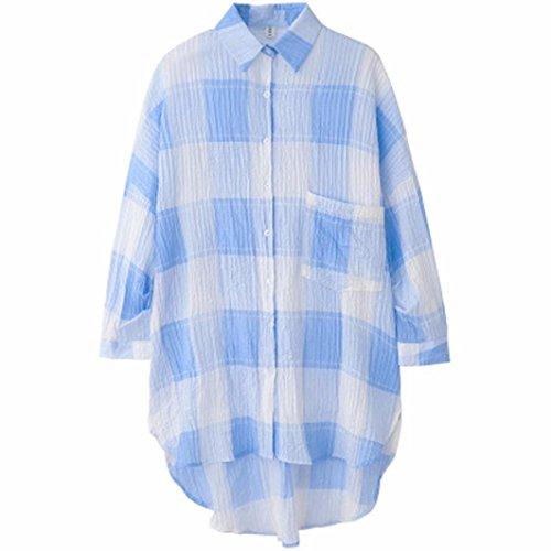 Chemise Carreaux Plaid Femme Manche Longue Cotton Décontractée Blouse Shirt Bleu