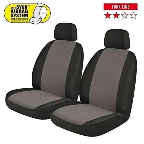 Coprisedili Anteriori Yaris Versione (2006-2011 (P9)) compatibili con sedili con airbag, con Fori per i poggiatesta e bracciolo Lat