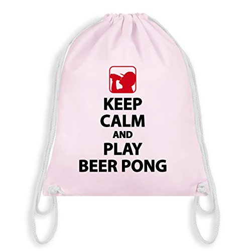 Festival - Keep Calm And Play Beer Pong - Unisize - Pastell Rosa - WM110 - Turnbeutel & Gym Bag