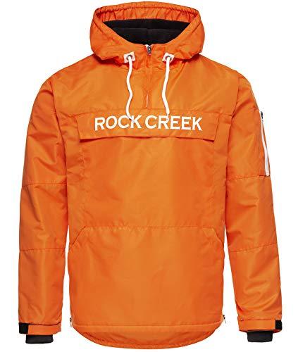 Rock Creek Herren Windbreaker Jacke Übergangsjacke Anorak Schlupfjacke Kapuze Regenjacke Winterjacke Herrenjacke Jacket H-167 Orange 4XL