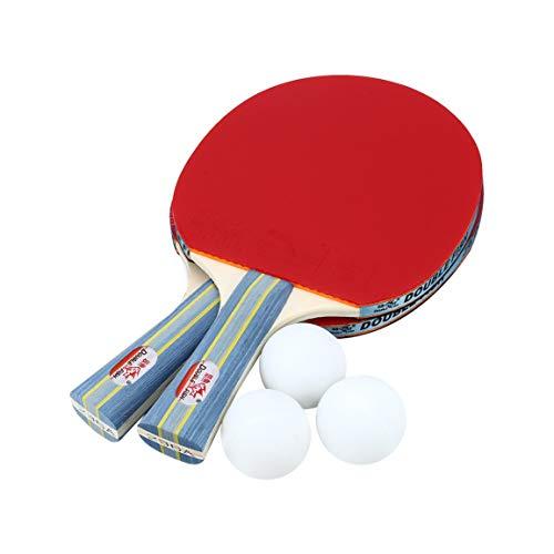 Fantasyworld Double Fish Outdoor Indoor Sport Tischtennisschläger mit Ping-Pong-Bälle Tragbare Durable Ping-Pong Paddel-Set
