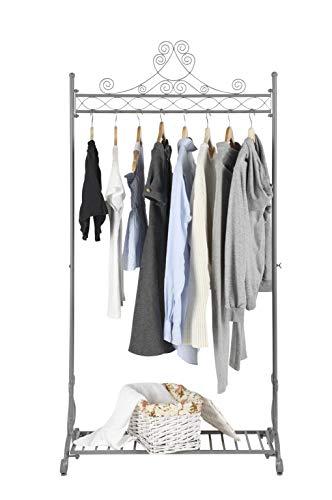 NEUN WELTEN Kleiderständer Vintage Design Kleiderstange aus Metall Garderobenständer (Grau)