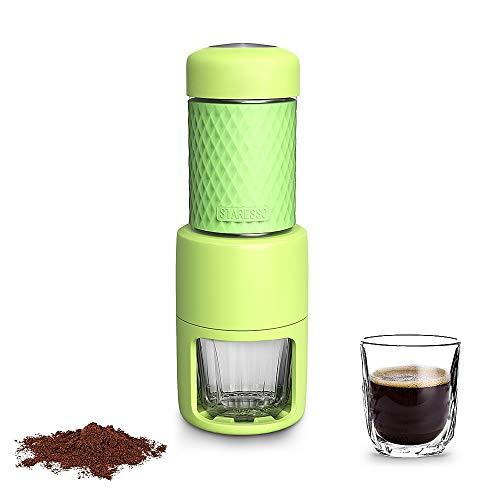 STARESSO Máquina de café manual portátil con cápsulas de café espresso Cappuccino Quick Cold Brew Todo-en-uno para viajes en el hogar Oficina Camping al aire libre (verde)