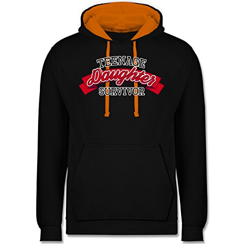 Muttertag - Teenage Daughter Survivor - Kontrast Hoodie Schwarz/Orange
