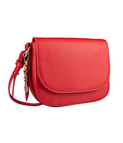 SIX Damen Handtasche, Minibag in knalligem Rot mit goldenen Details, Umhängetasche mit Klappverschluss, goldenen Mandala Anhänger (726-628) -