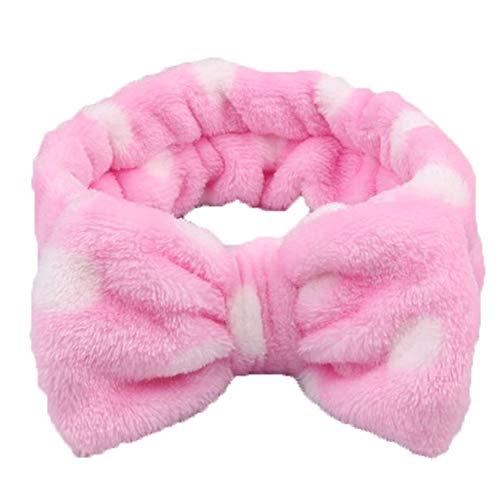 Risxffp linda grande con fiocco corallo lana diadema donna viso lavaggio elastico capelli fascia rosa