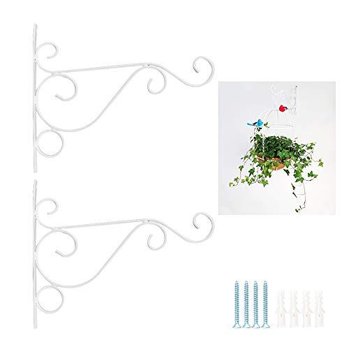 JNCH 2 Stück Haken für Blumenampel Halterung Blumenampelhaken Blumenampelhalter Wandhalterung für Blumentopf Blumenampel Laternen Windspiele Wandhaken für Hanging Baskets mit Schrauben Dübeln weiß