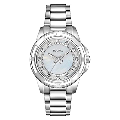 Bulova Ladies Women's Designer Diamond Watch - Stainless Steel Bracelet Wrist Watch 96S144